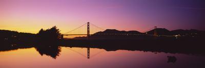Reflection of a Suspension Bridge on Water, Golden Gate Bridge, San Francisco, California, USA