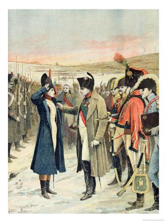 Napoleon Bonaparte Presenting the Female Officer, Marie Schellinck with a Medal on the Battlefield