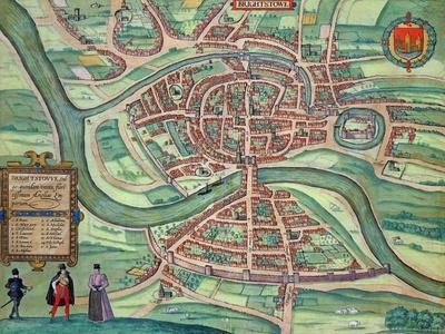 "Map of Bristol, from ""Civitates Orbis Terrarum"" by Georg Braun and Frans Hogenberg circa 1572-1617"