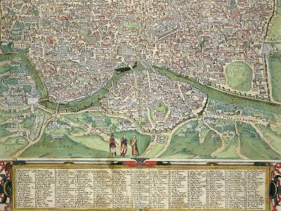 """Map of Rome, from """"Civitates Orbis Terrarum"""" by Georg Braun and Frans Hogenberg circa 1572-1617"""