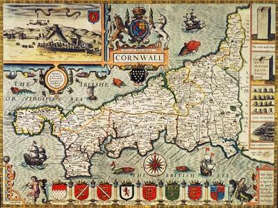 """Hand-Coloured Map of Cornwall from the 1627 Edition of """"Theatre of the Empire of Great Britain"""""""