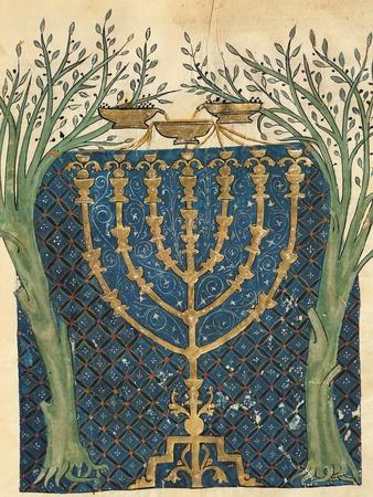 Illumination of a Menorah, from the Jewish Cervera Bible, 1299