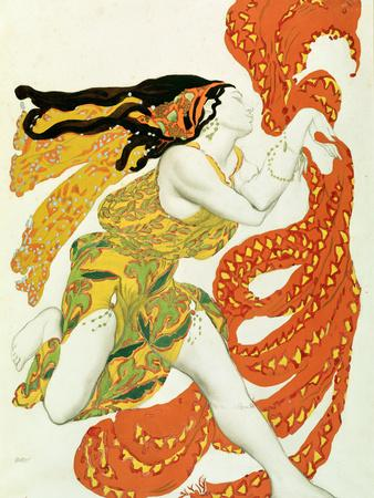 "Costume Design for a Bacchante in ""Narcisse"" by Tcherepnin, 1911"