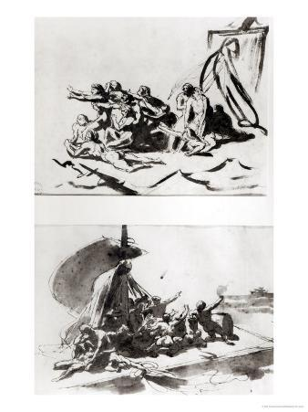 Two Sketches for the Raft of the Medusa, circa 1819