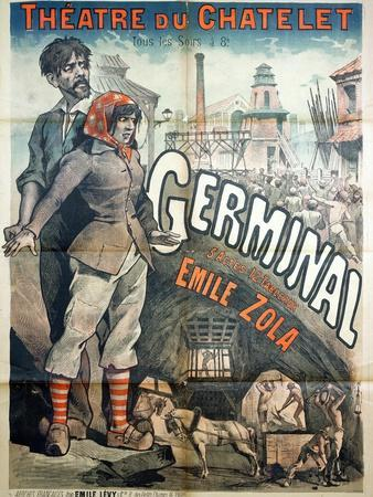 """Poster Advertising a Performance of the Play """"Germinal"""" by Emile Zola at the Theatre Du Chatelet"""