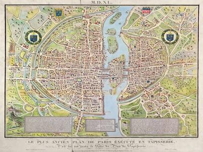 Plan de La Tapisserie, Map of Paris, Originally a Tapestry Made in circa 1570, 1818
