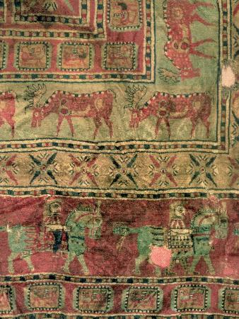 Pile Carpet Depicting Horses and Riders, Fallow Deer and Griffins