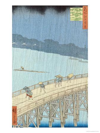 "Sudden Shower on Ohashi Bridge at Ataka, from the Series ""100 Views of Edo"", 1857"