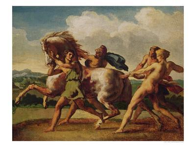 """Slaves Stopping a Horse, Study for """"The Race of the Barbarian Horses"""", 1817"""