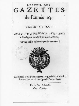 "Title Page of the First Collection of ""La Gazette"", 1632"