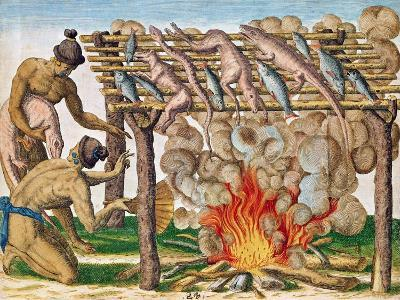 """How to Grill Animals, from """"Brevis Narratio..."""", Published by Theodore de Bry, 1591"""