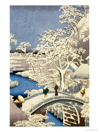 """Drum Bridge and Setting Sun Hill at Meguro, from the Series """"100 Views of Edo"""""""