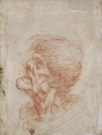 Caricature Head Study of an Old Man, circa 1500-05