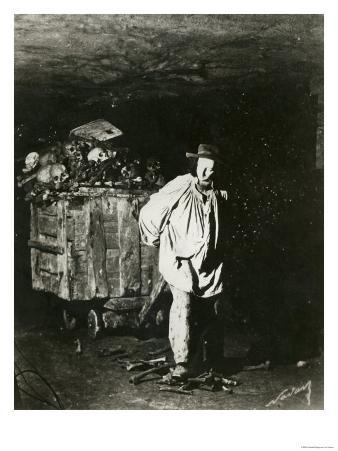 Interior of Catacombs, Paris, 1861