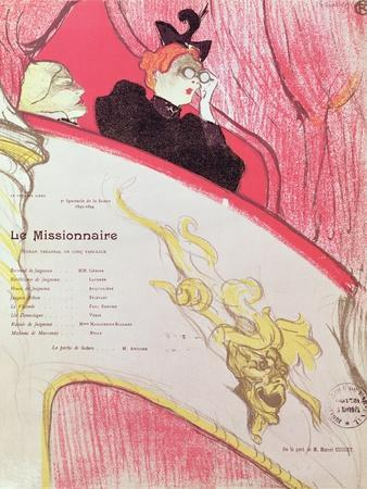 """Cover of a Programme for """"Le Missionaire"""" at the Theatre Libre, 1893-94"""