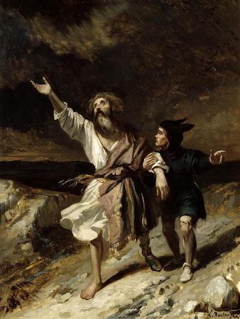 """King Lear and the Fool in the Storm, Act III Scene 2 from """"King Lear"""" by William Shakespeare 1836"""