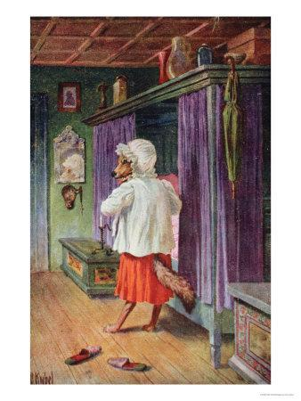 Postcard Depicting the Wolf Disguised as Little Red Riding Hood's Grandmother