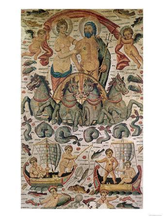The Triumph of Neptune and Amphitrite, Fragment of Pavement, from Constantine, Algeria