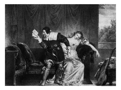 "Scene of the Cousin's Letter, Illustration from ""The Barber of Seville"""