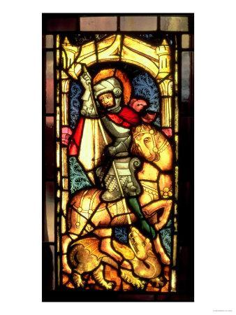Stained Glass Window Depicting St. George and the Dragon from Cologne, circa 1300