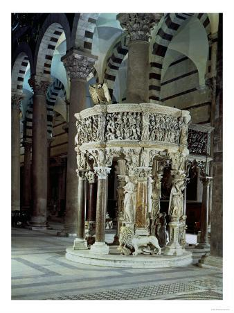 Marble Pulpit, by Giovanni Pisano 1302-10