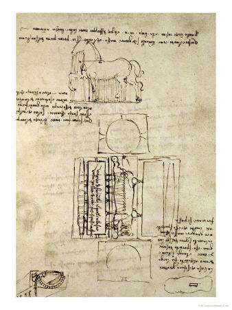 Sketch of a Horse and Various Other Diagrams