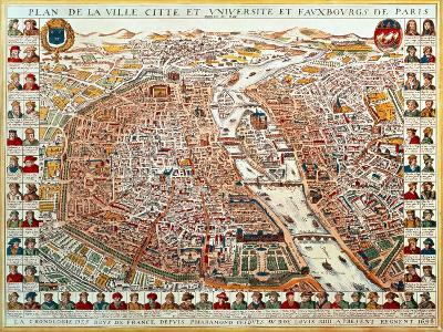 Plan of Paris, 1698, Bordered by a Chronological Series of Portraits of the Kings of France