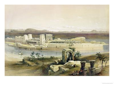 """General View of the Island of Philae, Nubia, from """"Egypt and Nubia"""", Vol.1"""