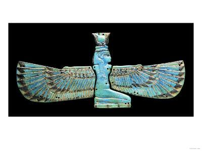 An Egyptian Turquoise Glazed Composition Pectorial in the Form of a Winged Isis