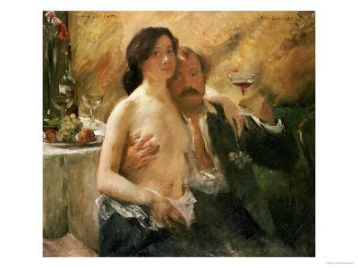 Self Portrait with Nude Woman and Glass