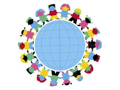 Children Holding Hands Around Globe