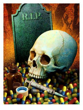 Drugs, Skull, and a Gravestone