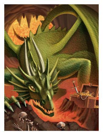 A Dragon Guarding a Treasure