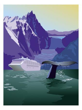A View of an Alaskan Cruise Ship, Glaciers, and a Whale