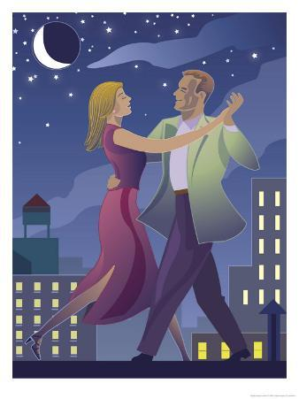 A Male and Female Couple Dancing at Night with a City Skyline in the Background