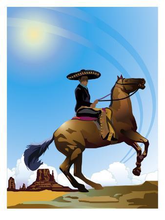 Mexican Caballero on Horseback, Grouped Elements