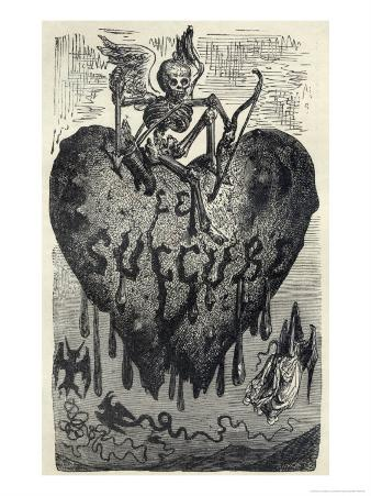 The Demonic Entity of the Succubus Portrayed as a Skeleton on a Bleeding Heart