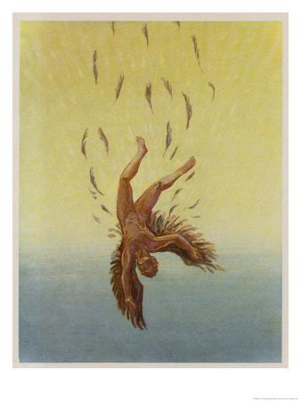 Icarus Falls from the Sky as the Sun Melts His Wings