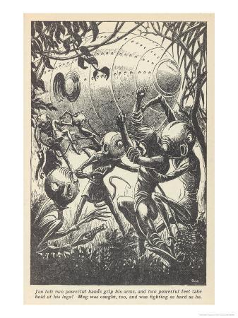 Human Couple Abducted by Aliens, Scene from Don A. Stuarts the Invaders