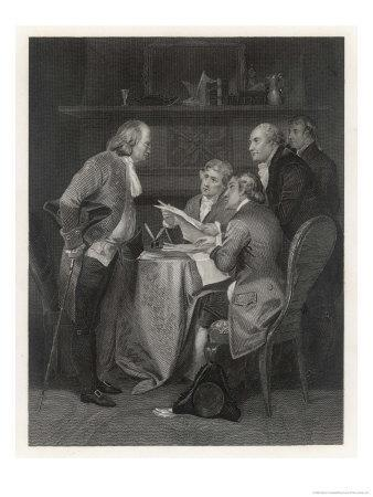 Drafting the Declaration of Independence, Franklin Jefferson Adams Livingston and Sherman
