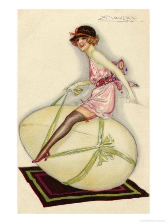 Lightly-Dressed Girl Riding an Egg