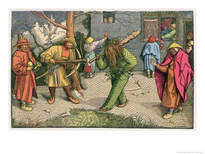 The Green Man Depicted as One of a Group of Shrovetide Characters in 16th Century Holland