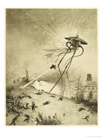 The War of the Worlds, a Martian Fighting-Machine is Destroyed by a Hit from a Shell