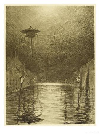 The War of the Worlds, a Martian Machine Over the Flooding Thames
