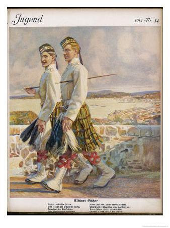 Two Scottish Soldiers in Walking-Out Dress at Oban