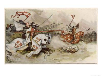First Crusade a Cavalry Charge by the Knights of Saint John Against the Saracens