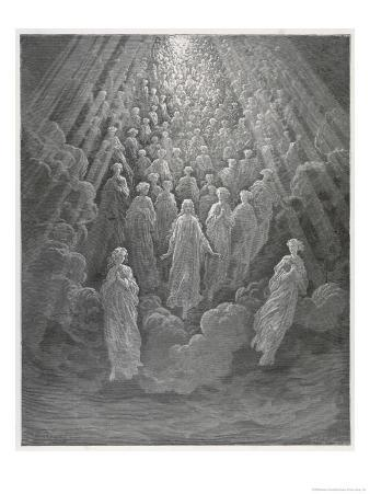 Huge Host of Angels Descend Through the Clouds in Paradise