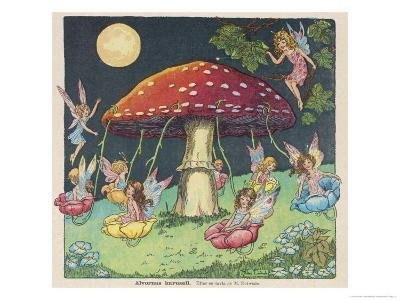 Fairies at Play, a Toadstool Makes a Convenient Merry-Go- Round