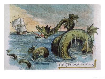 Sea Monster Looks at a Sailing Ship