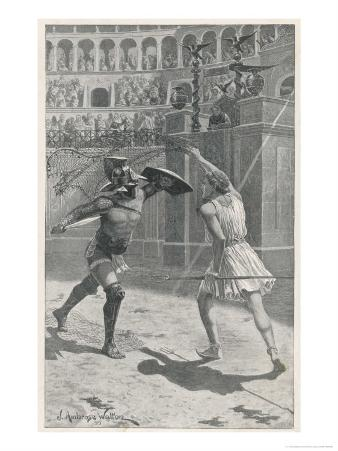 Gladiators in Combat in an Arena